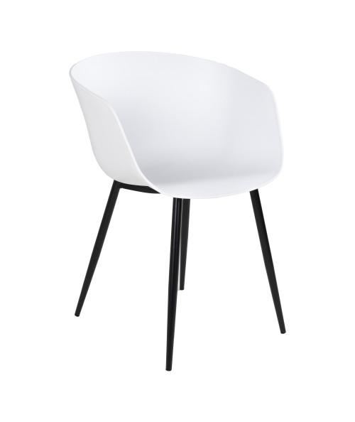 Rodaspisebordsstol i hvid med sorte ben