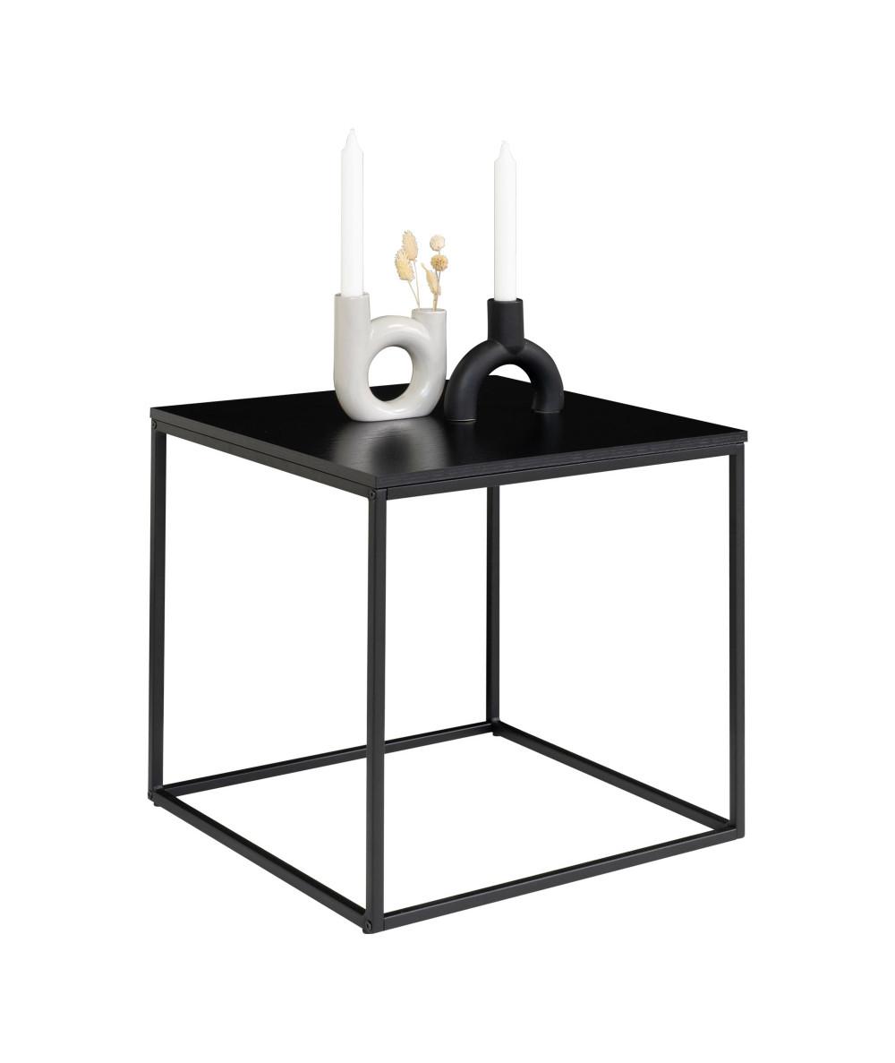 Vita hjørnebord med sort ramme og sort bordplade