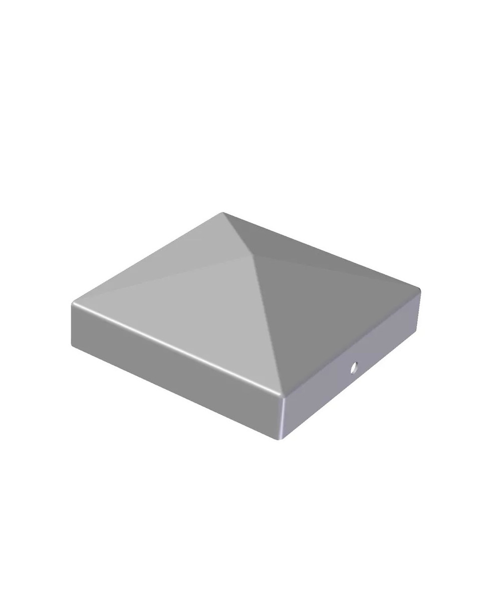 Pyramideformet galvaniseret stolpehat 13,6x13,6x2 cm
